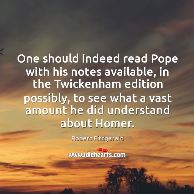 One should indeed read pope with his notes available, in the twickenham edition possibly Image