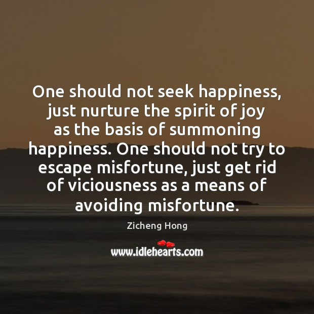 One should not seek happiness, just nurture the spirit of joy as Zicheng Hong Picture Quote
