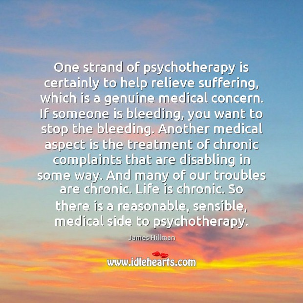 One strand of psychotherapy is certainly to help relieve suffering, which is James Hillman Picture Quote