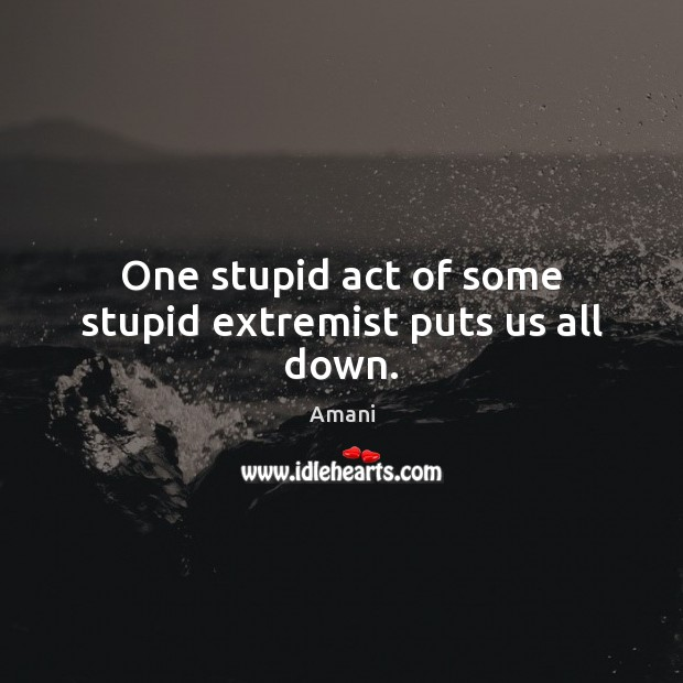 Image, One stupid act of some stupid extremist puts us all down.