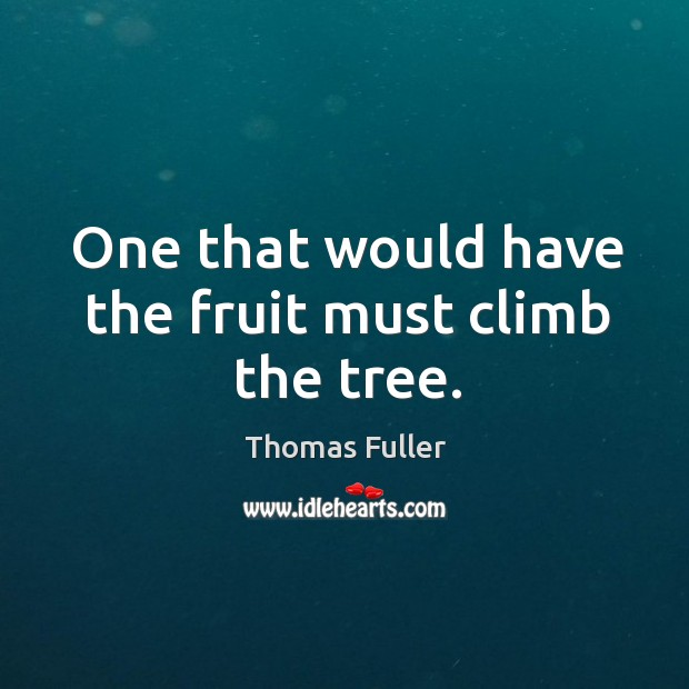 One that would have the fruit must climb the tree. Thomas Fuller Picture Quote