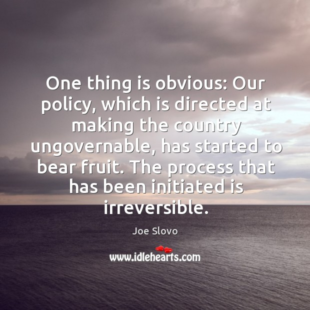 One thing is obvious: our policy, which is directed at making the country ungovernable Image