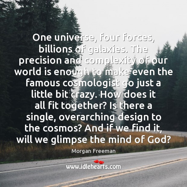 One universe, four forces, billions of galaxies. The precision and complexity of Morgan Freeman Picture Quote