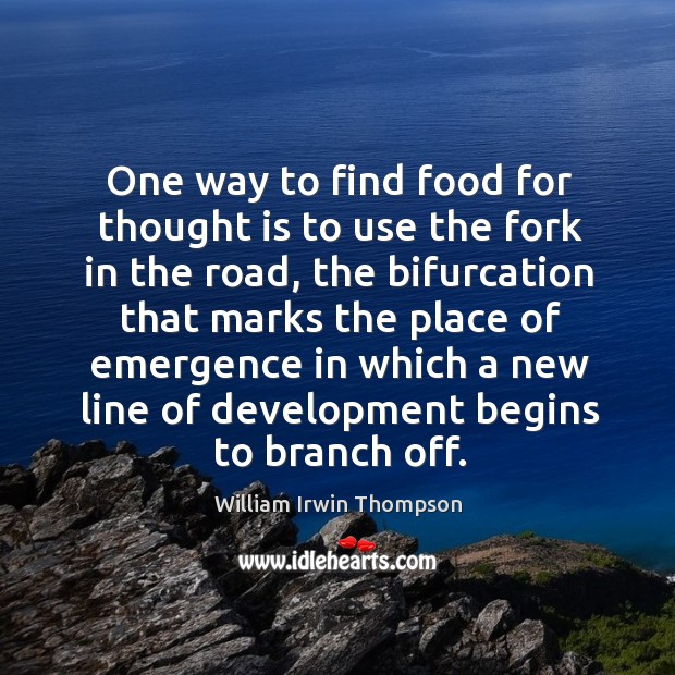 One way to find food for thought is to use the fork in the road, the bifurcation Image