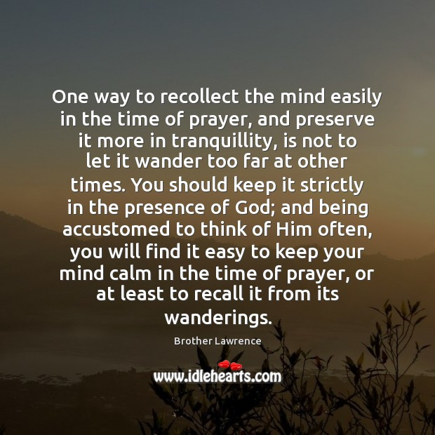Image, One way to recollect the mind easily in the time of prayer,