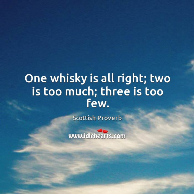 Image, One whisky is all right; two is too much; three is too few.