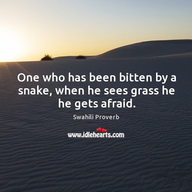 Image, One who has been bitten by a snake, when he sees grass he he gets afraid.