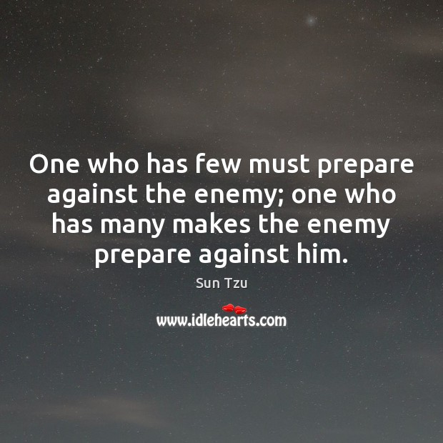 One who has few must prepare against the enemy; one who has Image