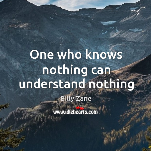 Image, One who knows nothing can understand nothing