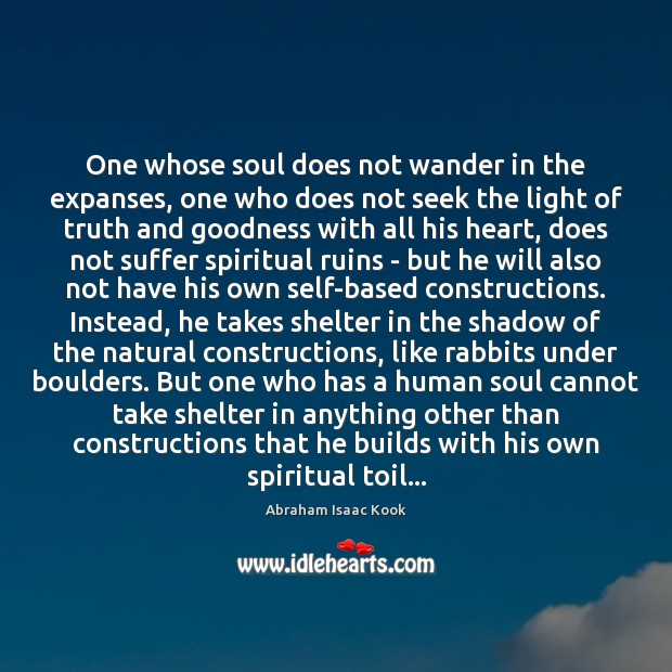 Image, One whose soul does not wander in the expanses, one who does
