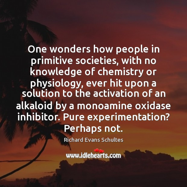 Image, One wonders how people in primitive societies, with no knowledge of chemistry