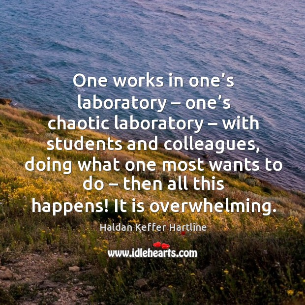 One works in one's laboratory – one's chaotic laboratory – with students and colleagues Image