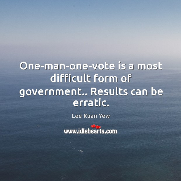 Image about One-man-one-vote is a most difficult form of government.. Results can be erratic.