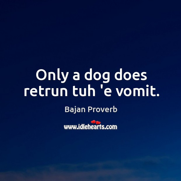 Only a dog does retrun tuh 'e vomit. Bajan Proverbs Image