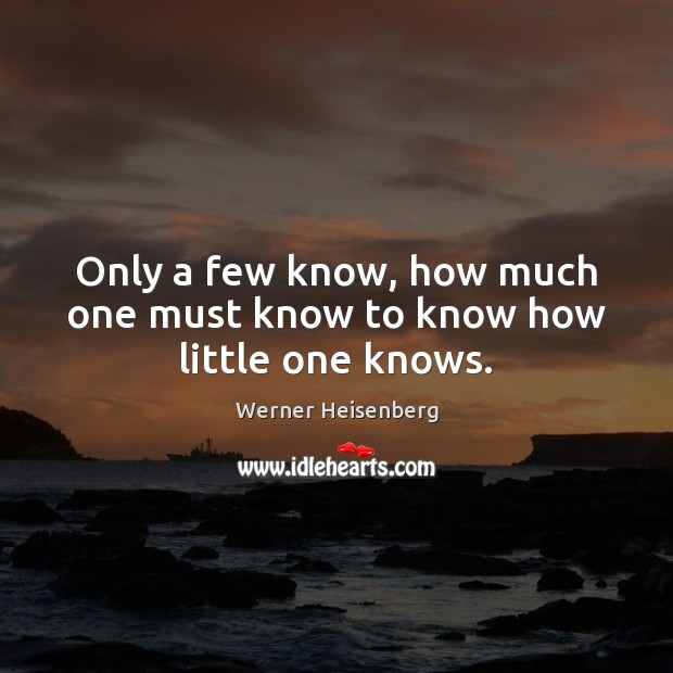 Only a few know, how much one must know to know how little one knows. Image