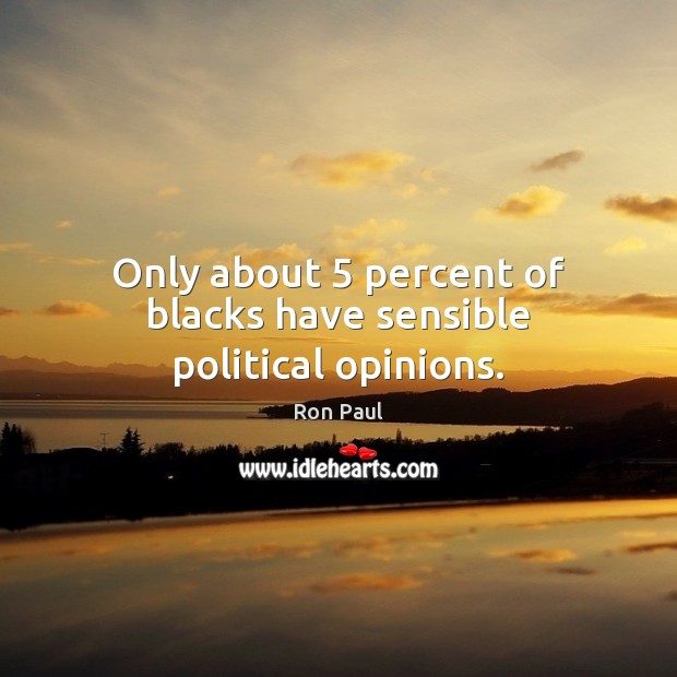 Image, Only about 5 percent of blacks have sensible political opinions.