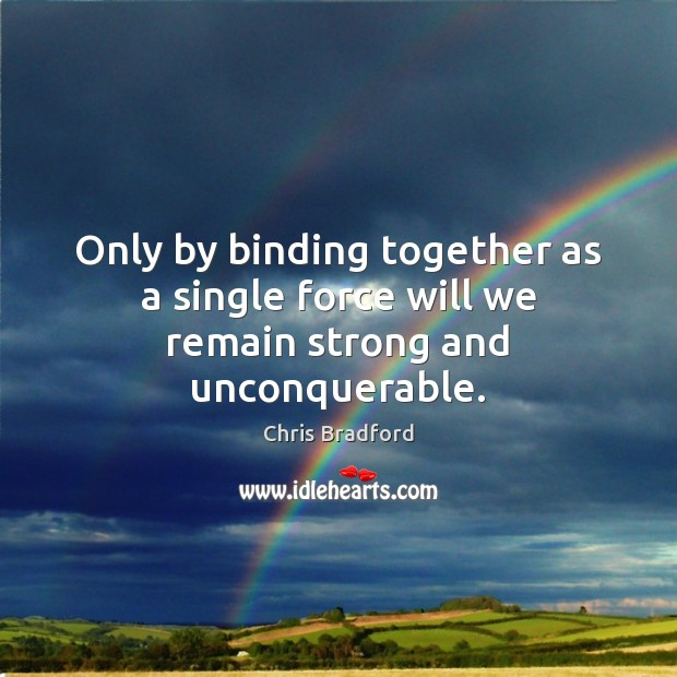 Only by binding together as a single force will we remain strong and unconquerable. Chris Bradford Picture Quote