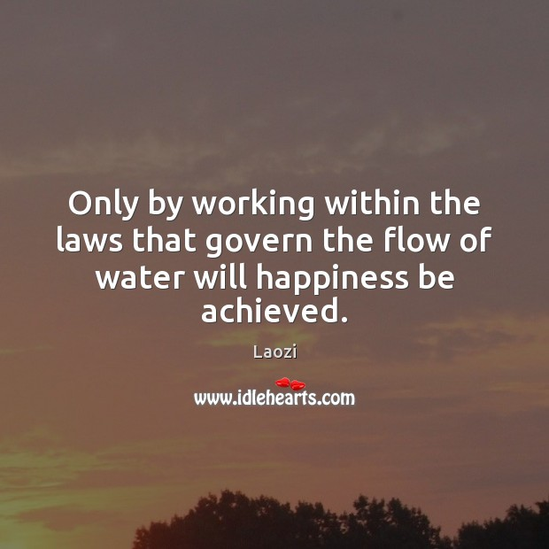 Only by working within the laws that govern the flow of water will happiness be achieved. Image