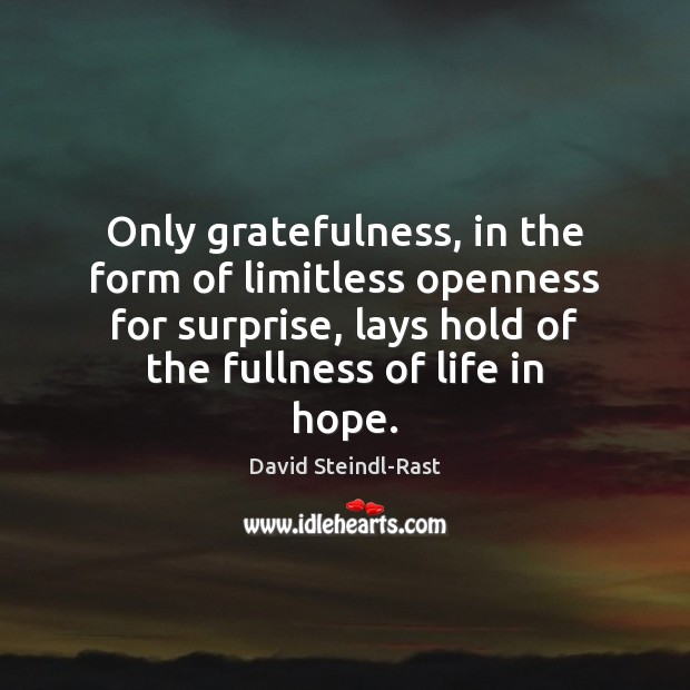 Image, Only gratefulness, in the form of limitless openness for surprise, lays hold