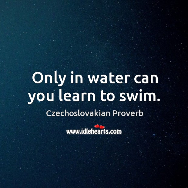 Only in water can you learn to swim. Czechoslovakian Proverbs Image