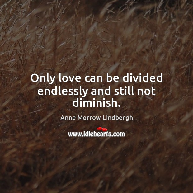Only love can be divided endlessly and still not diminish. Anne Morrow Lindbergh Picture Quote