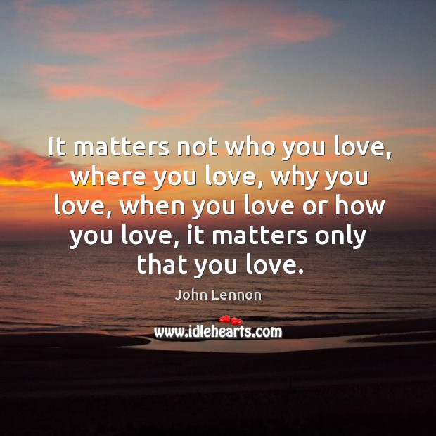 Image, Only love matters