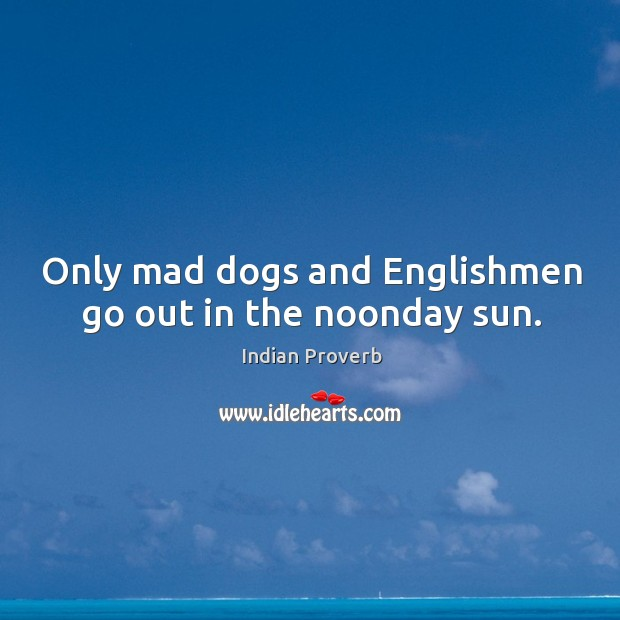Only mad dogs and englishmen go out in the noonday sun. Indian Proverbs Image