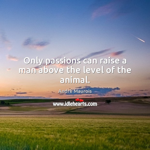 Only passions can raise a man above the level of the animal. André Maurois Picture Quote