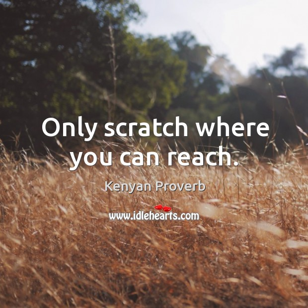 Only scratch where you can reach. Kenyan Proverbs Image