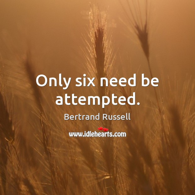 Only six need be attempted. Image