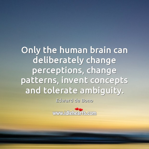 Only the human brain can deliberately change perceptions, change patterns, invent concepts Edward de Bono Picture Quote