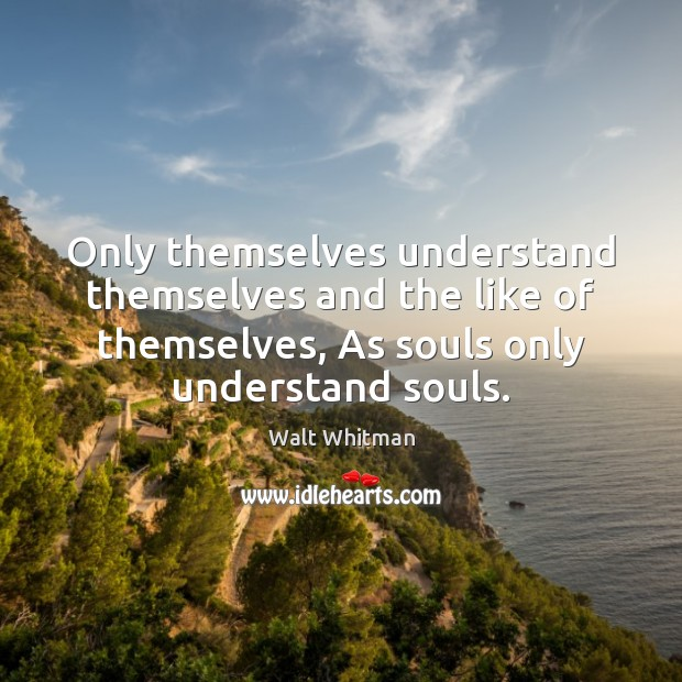 Only themselves understand themselves and the like of themselves, As souls only Image