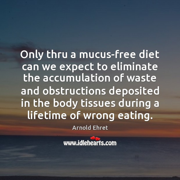 Image, Only thru a mucus-free diet can we expect to eliminate the accumulation