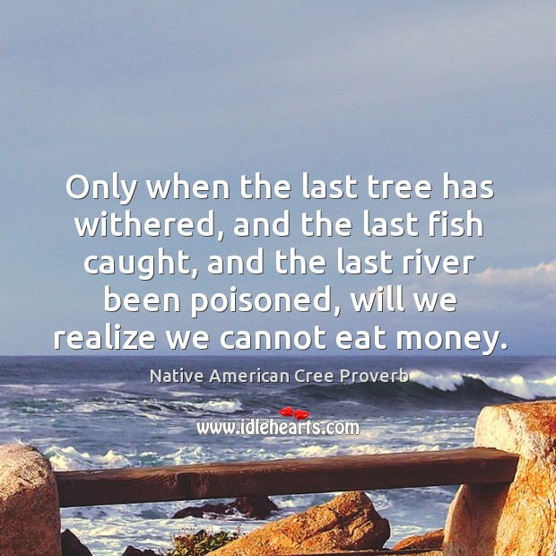 Only when the last tree has withered, and the last fish caught, and the last river been poisoned, will we realize we cannot eat money. Image