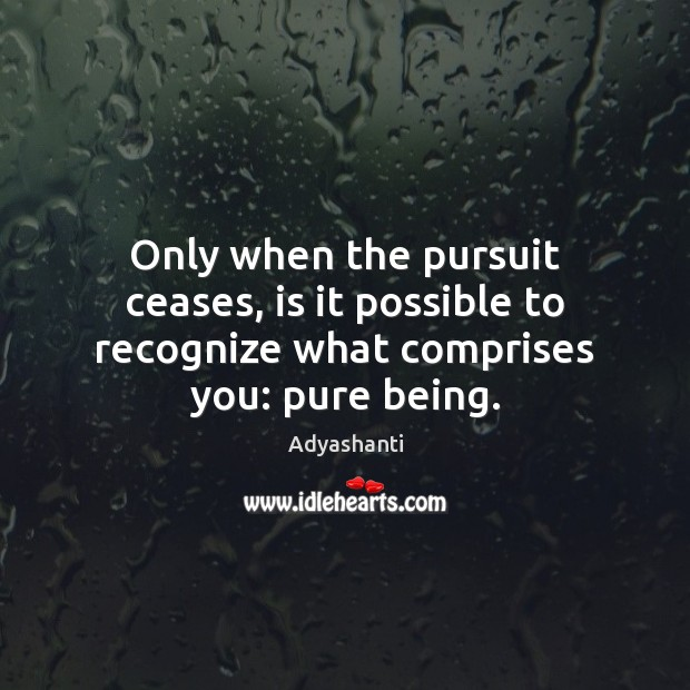 Image, Only when the pursuit ceases, is it possible to recognize what comprises you: pure being.