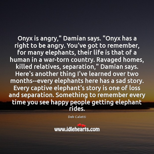 "Onyx is angry,"" Damian says. ""Onyx has a right to be angry. Image"