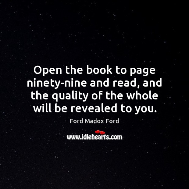 Open the book to page ninety-nine and read, and the quality of Image