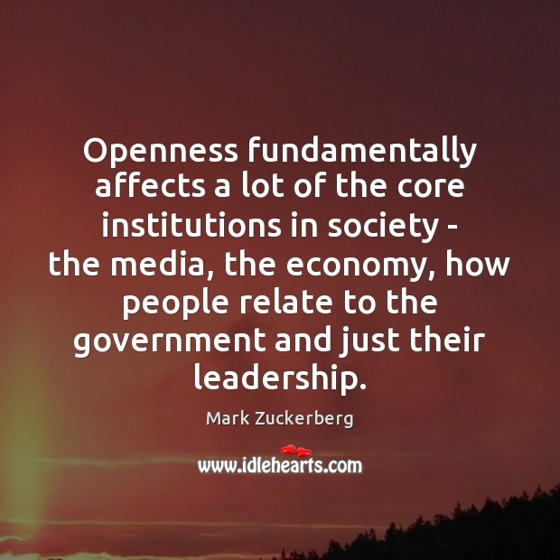 Openness fundamentally affects a lot of the core institutions in society – Economy Quotes Image