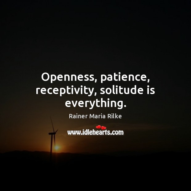 Image, Openness, patience, receptivity, solitude is everything.