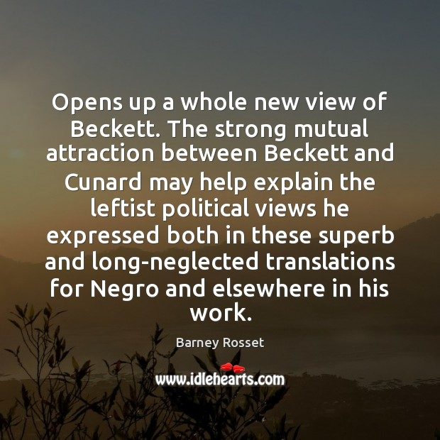 Image, Opens up a whole new view of Beckett. The strong mutual attraction