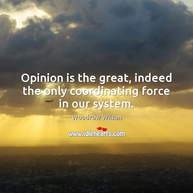 Image, Opinion is the great, indeed the only coordinating force in our system.