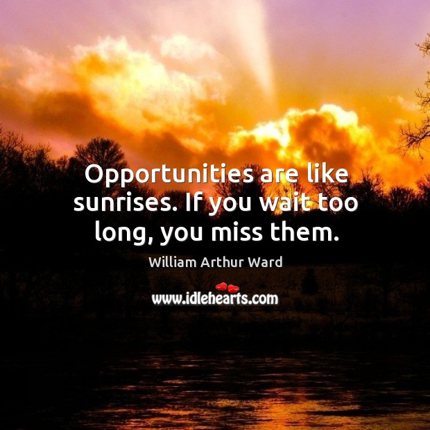 Opportunities are like sunrises. If you wait too long, you miss them. Image