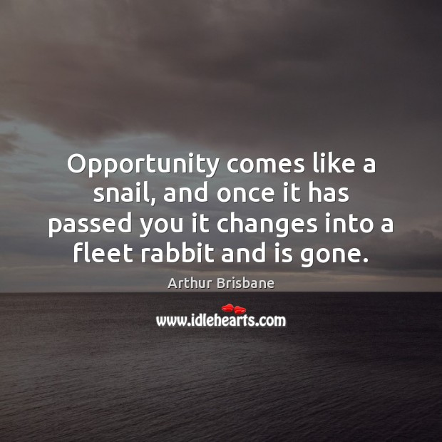Image, Opportunity comes like a snail, and once it has passed you it