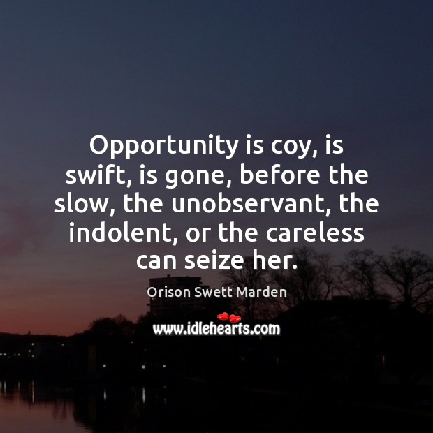 Opportunity is coy, is swift, is gone, before the slow, the unobservant, Orison Swett Marden Picture Quote