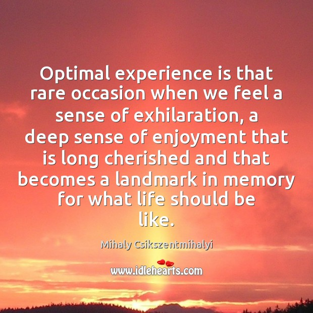 Optimal experience is that rare occasion when we feel a sense of Mihaly Csikszentmihalyi Picture Quote