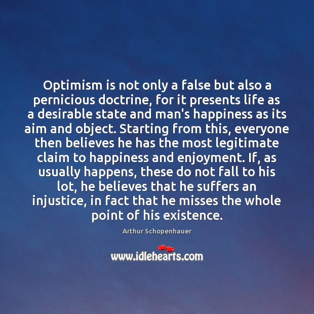 Optimism is not only a false but also a pernicious doctrine, for Image