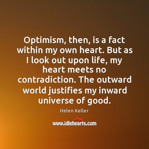 Optimism, then, is a fact within my own heart. But as I Helen Keller Picture Quote