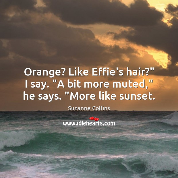 """Image, Orange? Like Effie's hair?"""" I say. """"A bit more muted,"""" he says. """"More like sunset."""