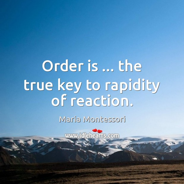 Order is … the true key to rapidity of reaction. Image