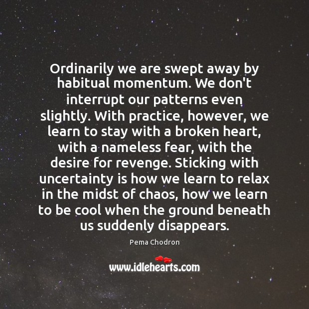 Ordinarily we are swept away by habitual momentum. We don't interrupt our Image